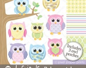 Owl Friends  BABY PASTELS - Clip Art and Digital Paper Set