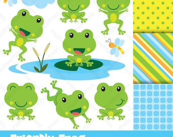 Friendly Frog - Clip Art and Digital Paper Set