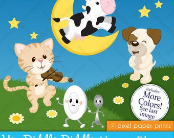 Hey Diddle Diddle - Nursery Rhymes - Digital clipart set