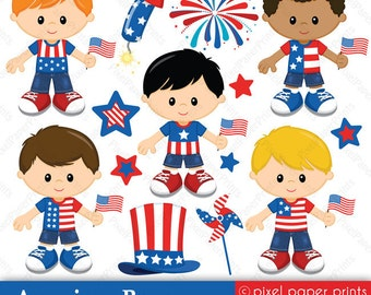 American Boys - 4th of July - Digital paper and clip art set