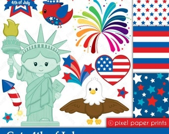 Cute 4th of July - Clipart and Digital paper set