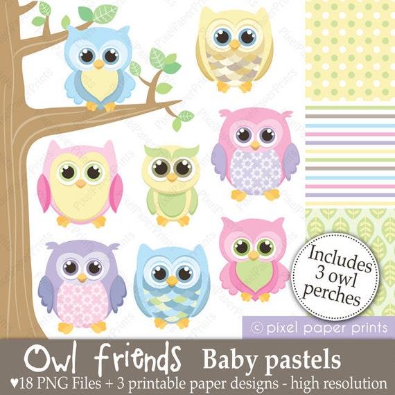 Owl Friends  BABY PASTELS - Clip Art and Digital Paper Set