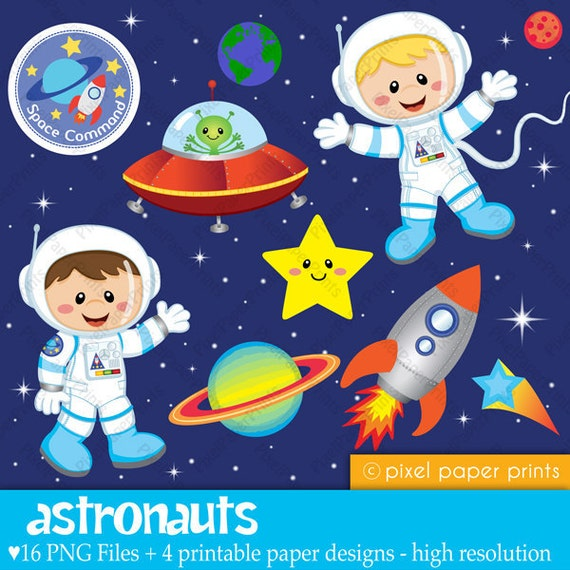 Astronauts - Clip art and Digital paper set