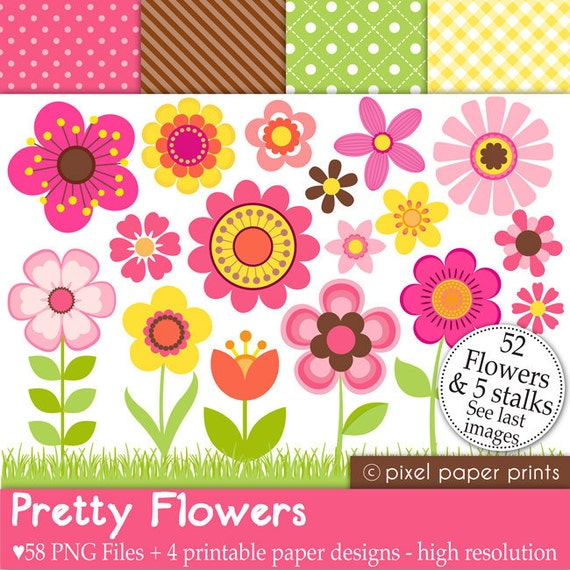 Pretty Flowers - Digital paper and clip art set - 58 png images