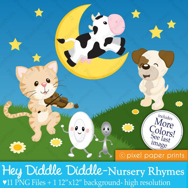 Hey Diddle Diddle Nursery Rhymes Digital clipart set