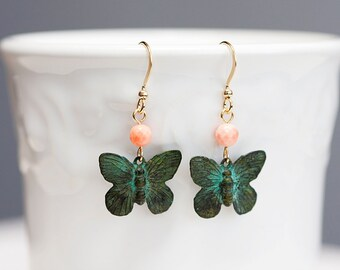 Patina Butterfly Earrings Pink Coral Bead Patina Earrings Verdigris Butterfly Dangle Little Butterfly Jewelry - E113