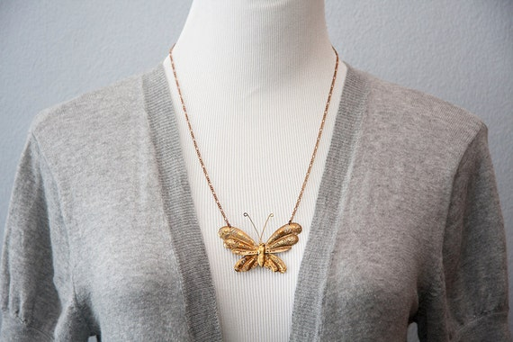 Large Butterfly Necklace Statement Necklace Vintage Inspired Floral Butterfly Jewelry - N086