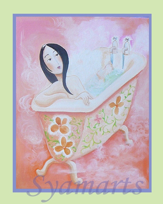 Modern steamy peach bathroom art, art cards, woodblock, print, contemporary pink bath time, unique gift, whimsical art, quirky, cute