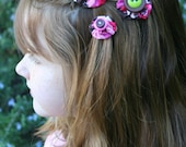 Spumoni Ice Cream Barrettes  - Hand Crafted Pink, Lime, Brown and White Floral Hair Clip With Button Centers
