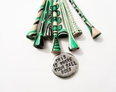 Golf Ball Marker and golf tees green and black - mens gift - golf lover emerald green