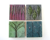 Original tree painting - flower leaf feather landscape art set four wall hangings home decor