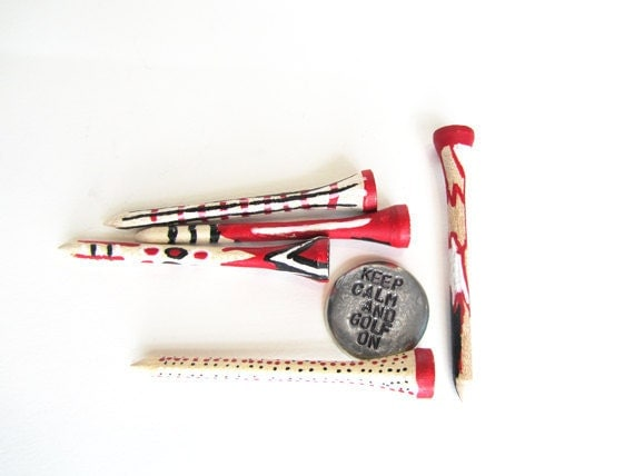Father's Day gift gift golf - Golf ball marker golf tees - red black white graphic