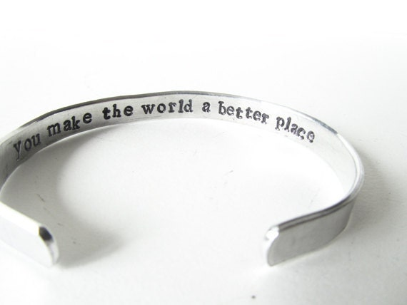 secret Message Bracelet - jewelry hand made - inspirational gift, friend, mother, you make the world a better place, handmade jewelry