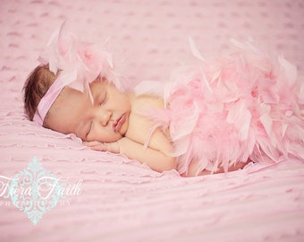 Pink Feather Diaper Cover Bloomer & Headband Set The ORIGINAL Babicakes Couture Spring Prop, Summer Prop, Newborn Girl, New Baby Photo Prop