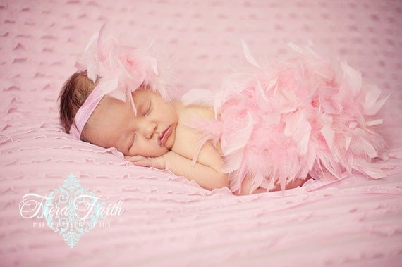 The ORIGINAL Pink Feather Diaper Cover Bloomer & Headband Set Hospital Take Home Outfit, Feather Tutu, New Baby PHOTO PROP, Newborn Prop