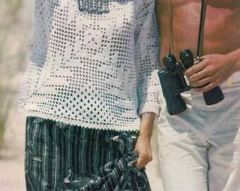 1970s Boho Lace Sweater VINTAGE CROCHET PATTERN to make Retro/Folk/Romantic white summer top, Instant Pdf from GrannyTakesATrip 0012