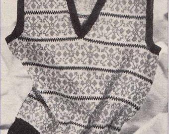 Mens Fairisle V Neck 1940s VINTAGE KNIT PATTERN, Scandi/Scottish, Preppy/Retro/Hipster Tank Top, Instant Pdf from GrannyTakesATrip 0061