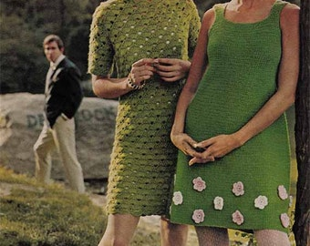 1960s Mod Mini Dress VINTAGE CROCHET PATTERN Mary Quant flowers, Retro Hipster/Boho Chic, 2 Designs Instant Pdf from GrannyTakesATrip 0099