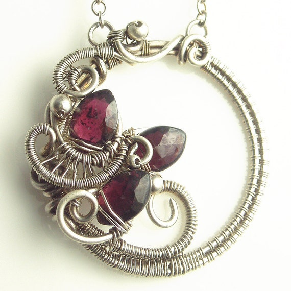 Garnet  Dark Reddy Pink Sterling Silver Wirewrapped Necklace - Gemstone Circle