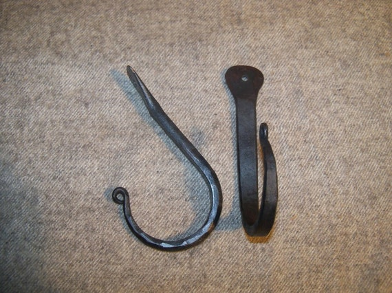 """Pair Hand Forged Large """"Thumbprint"""" Hooks made by Blacksmith"""