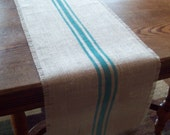 Burlap Table Runner 12 x 72 - 14 x 72 - 16 x 72 with Turquoise Grain Sack Style Stripes or Choose Your Colors