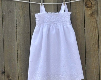 White Eyelet Dress, Rustic Flower Girl Dress, Baptism, beach portrait, 3m,6m,9m,12m,18m,2t,3t,4,5,6,7,8,10