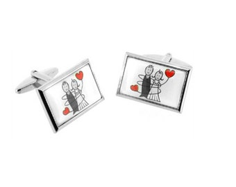 Married Couple Cufflinks - Groomsmen Gift - Men's Jewelry - Gift Box Included