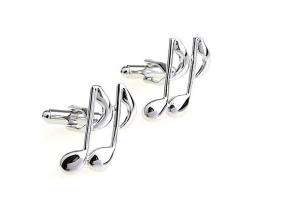 Double Music Note Cufflinks - Groomsmen Gift - Men's Jewelry - Gift Box Included