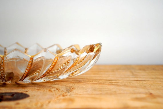 SALE 50% OFF Vintage Glass Dish with Gold Detail - Candy Bowl