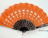Halloween Costue Hand Fan- Hand Held Fan- Handmade Lace Hand Fan- Folding Hand Fan- Spanish Wedding Fan- Bridal Bouquet Alternative- Spanish