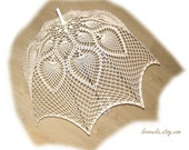 Wedding umbrella in white or ivory, beautiful crochet accesory, victorian parasol, MADE to ORDER