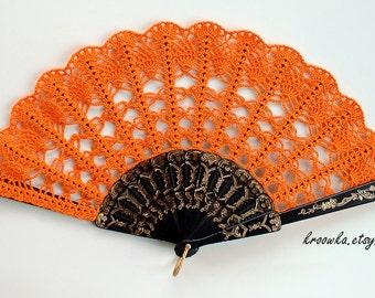 Costume Hand Fan- Hand Held Fan- Handmade Lace Hand Fan- Folding Hand Fan- Spanish Wedding Fan- Bridal Bouquet Alternative- Spanish