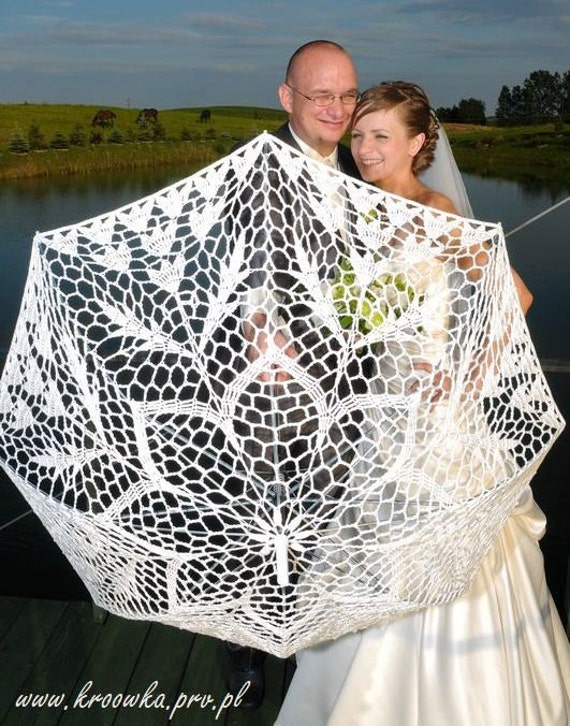 WHITE Or IVORY Parasol Wedding Crochet Lace By