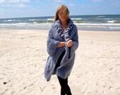 Grey Knit Sweater Coat