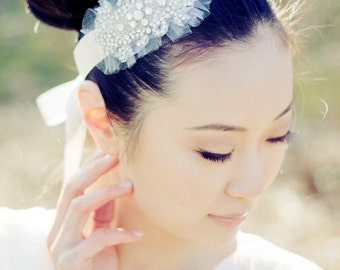 PENNY Headband - Beaded Rhinestone Bridal Headband in Soft White/Light Ivory