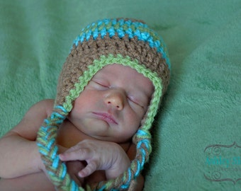 Newborn 3 color striped earflap hat Photo Prop (you choose colors - charts inside) sizes nb, 1-3mos, 3-6mos, 6-12mos