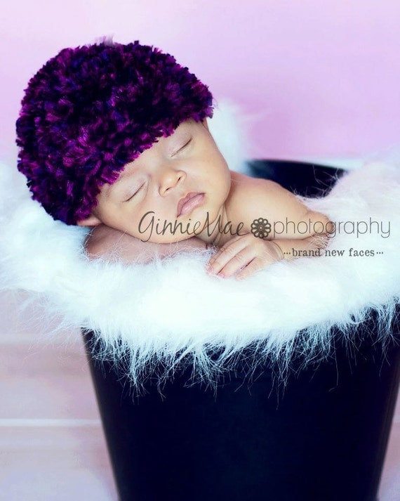Newborn Baby Girl Photography Prop Hat Feather Boa Beanie in Purples (also available in 1-3mos, 3-6mos, 6-12mos)