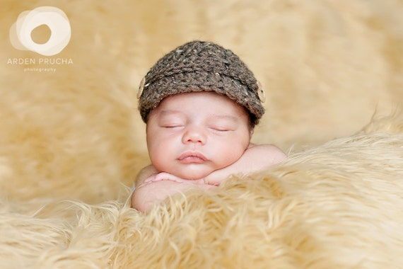 SALE Baby Boy Barley Newsboy page boy cap baby beanie hat Photography Prop (many colors available and in sizes nb, 1-3mos, 3-6mos)