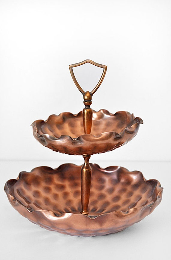 Mid Century Serving Stand Gregorian Copper