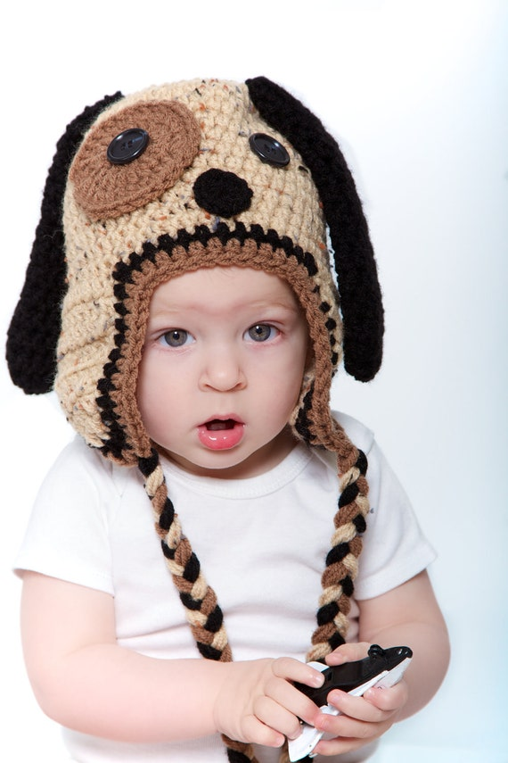 Brown and Black Puppy Dog Crocheted Hat - Photo Prop - Available in Any Size or Color Combination