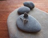 Silver Heart Studs. Tiny Antique heart earrings
