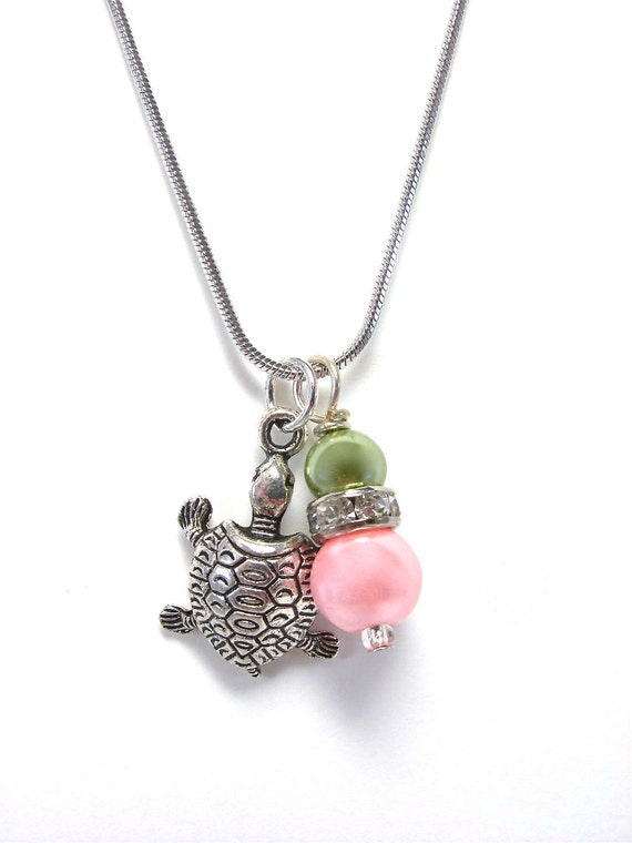 delta zeta dz turtle and pearl necklace by galvestontradingco