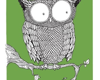 Green Owl, Screen Print - Limited Edition