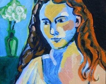 "SALE Portrait of a Woman, Original Painting on Canvas, Art, 12"" x 9"" Fauve Titian Flora"