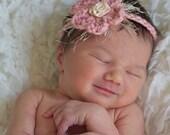 Newborn baby headband made from organic cotton yarn with soft embellishments