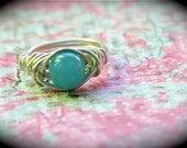 Chakra Jade Ring. Yoga Ring.  Reiki Ring. Hippie RIng, Vishuddha - Sky Blue Jade Gemstone Ring, 5th chakra, throat chakra support
