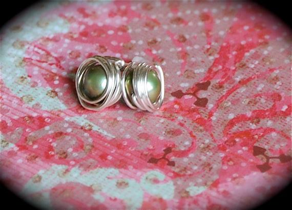 August Pearl - Genuine Green Fresh Water Pearl Earrings