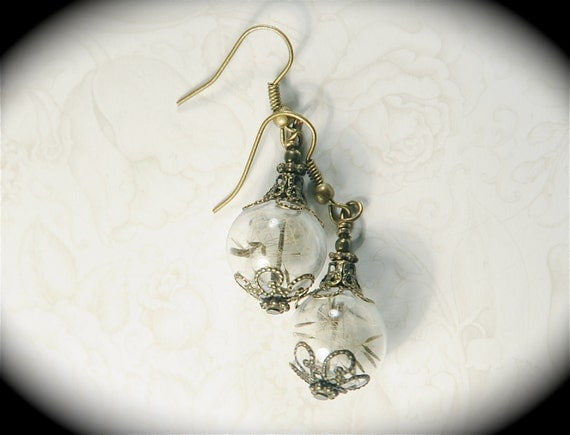 A Dream is a Wish Your Heart Makes - Dandelion Earrings Sealed Beads Make a Wish Glass Orb Globe Earrings