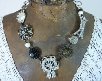 BLACK and WHITE  RHINESTONE vintage  assemblage necklace
