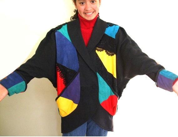 1980s Clothing Women Blazer Rainbow Suede Leather Lace Dolman Sleeve